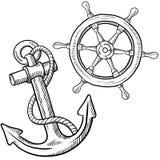 Het wiel van schepen en ankertekening Stock Foto's