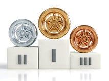 Het wieltoekenning van het goud, van het zilver en van het brons Stock Afbeeldingen