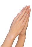 Het wijfje dient een gebedgebaar in Royalty-vrije Stock Foto