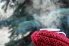 Het wijfje dient rode gebreide vuisthandschoenen in houdend het stomen van kop van hete koffie of thee dichtbij de boom van spark stock foto
