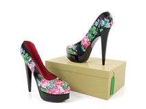 Het wijfje hielde hoog schoenen die op schoendoos worden geïsoleerd Royalty-vrije Stock Foto