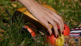 Het wijfje plukt omhoog een appel met de hand Close-up Pompoen op de achtergrond stock video