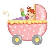 Het wijfje van het kind met de wandelwagen Royalty-vrije Stock Afbeeldingen