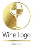 Het wijnembleem in goldlogo, pictogram, glanst, fonkeling, gouden geïsoleerde achtergrond, schittert, goud, gloed, vector, wit, s Stock Afbeelding