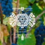 Het wijnetiket met druiven en het patroon blured fotoachtergrond Stock Foto