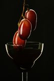 Het wijnglas en de druif van het nog-leven Stock Foto's