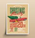 Het wijnoogst Gestileerde Malplaatje van de de Affichevlieger van de Kerstmispartij Vector illustratie stock afbeeldingen