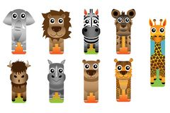 Het wild Safari Animal Bookmark Style royalty-vrije illustratie
