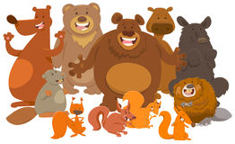 Het wilde beeldverhaal van zoogdieren dierlijke karakters vector illustratie