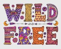 Het wilde en Vrije van letters voorzien stock illustratie