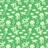 Het wilde naadloze patroon van bloemensilhouetten Stock Afbeeldingen