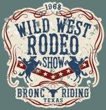 Het wilde paard van de het westenrodeo toont vector illustratie
