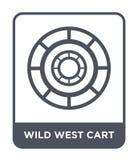 het wilde pictogram van de het westenkar in in ontwerpstijl het wilde die pictogram van de het westenkar op witte achtergrond wor stock illustratie