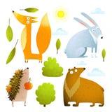 Het wilde van de de klemkunst van babydieren konijn van de de inzamelingsvos draagt egel Royalty-vrije Stock Afbeeldingen