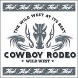 Het wilde westen - cowboyrodeo Vector embleem royalty-vrije illustratie