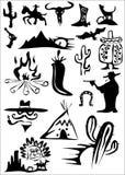 Het wilde westen en Mexicaanse inzameling Stock Foto's