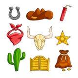 Het wilde westen met cowboytoebehoren geplaatst die op witte achtergrond worden geïsoleerd stock illustratie