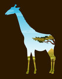 Het wildontwerp met giraf en gebied royalty-vrije illustratie