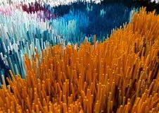 Het willekeurige Abstracte Kleurrijke geometrische 3d teruggeven als achtergrond Stock Foto