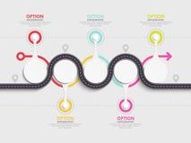 Het winden van weg infographic malplaatje met een gefaseerde structuur Royalty-vrije Stock Fotografie