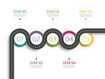 Het winden van weg infographic malplaatje met een gefaseerde structuur Stock Foto