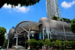 Het winkelcomplex van Singapore Ion Orchard Road met panda en notemuskaatscultpures Royalty-vrije Stock Afbeelding