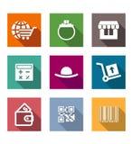 Het winkelen bedrijfs vlakke geplaatste pictogrammen Stock Foto's