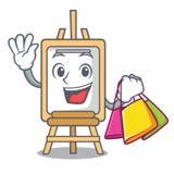Het winkelen het beeldverhaalstijl van het schildersezelkarakter stock illustratie