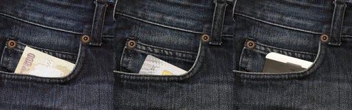 Het winkelen betalingsevolutie - contant geld, kaart, NFC Stock Foto