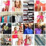 Het winkelen collage Stock Foto's