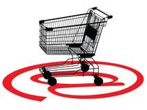 Het winkelen concept met een karretje stock illustratie