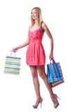 Het winkelen concept met vrouw Stock Foto's