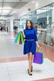 Het winkelen conceptie, vrouw met zakken royalty-vrije stock foto