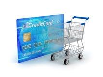 Het winkelen - creditcard en boodschappenwagentje Stock Afbeelding