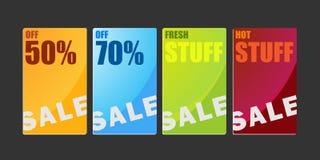 Het winkelen de bannersIllustratie van het verkoopkarton Royalty-vrije Stock Afbeeldingen