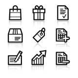 Het winkelen de pictogrammen van het contourWeb Royalty-vrije Stock Foto's