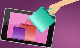 Het winkelen door Internet Stock Foto