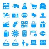 het winkelen, E-commerce vectorpictogram stock illustratie
