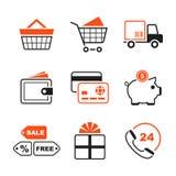 Het winkelen eenvoudige vectorpictogramreeks Royalty-vrije Stock Afbeelding