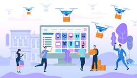 Het Winkelen en de Aankopen van mensenkarakters stock illustratie