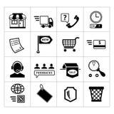 Het winkelen en elektronische handel geplaatste pictogrammen Stock Afbeelding