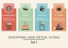 Het winkelen en kleinhandelsetiketten Stock Foto