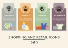Het winkelen en kleinhandelsetiketten Stock Foto's