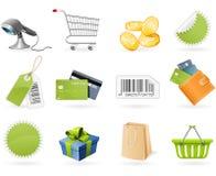 Het winkelen en kleinhandelspictogrammen Stock Foto