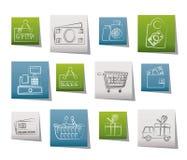 Het winkelen en kleinhandelspictogrammen Stock Afbeelding