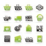 Het winkelen en kleinhandelspictogrammen Stock Afbeeldingen