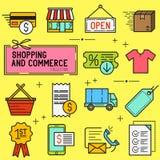 Het winkelen en Kleinhandelspictogramreeks Royalty-vrije Stock Afbeelding