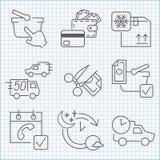 Het winkelen en leverings geplaatste pictogrammen Royalty-vrije Stock Foto