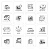 Het winkelen en Marketing Geplaatste Pictogrammen Stock Afbeeldingen