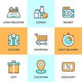 Het winkelen en markt geplaatste lijnpictogrammen royalty-vrije illustratie